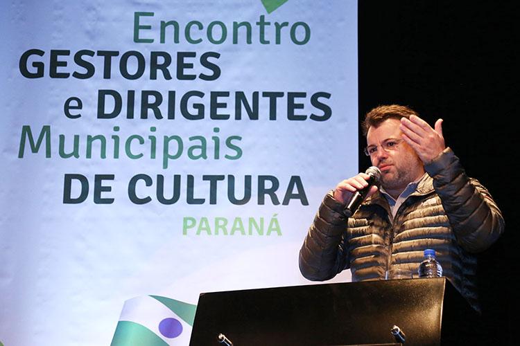 Marcelo Cattani, presidente da Fundação Cultural de Curitiba, durante o Encontro de Gestores e Dirigentes Municipais de Cultura do Paraná