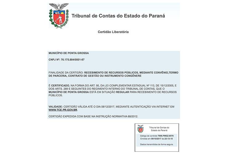 Com a Certidão Liberatório do Tribunal de Contas do Estado do Paraná emitida ontem, o Município de Ponta Grossa aguarda a partir de hoje a transferência dos recursos oriundos das emendas dos deputados estaduais e federais