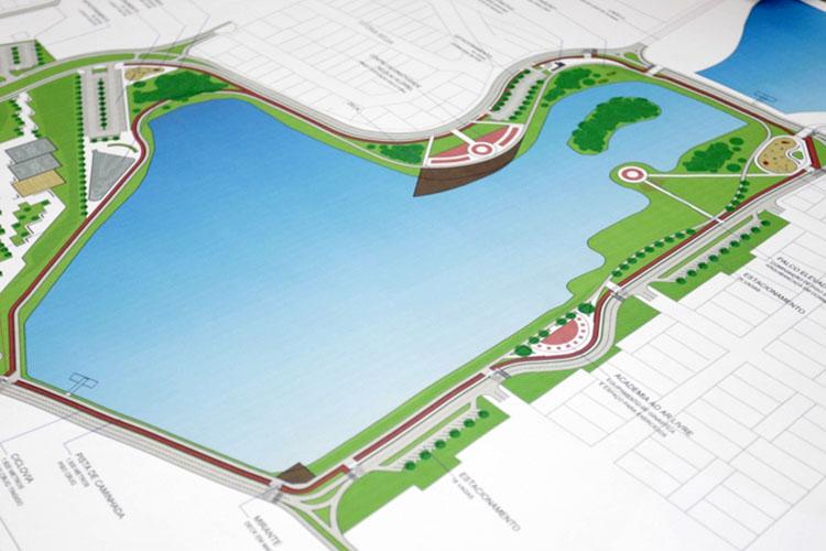 Serão apresentados à população os projetos de paisagismo e arruamento do entorno do primeiro dos cinco lagos previstos no local